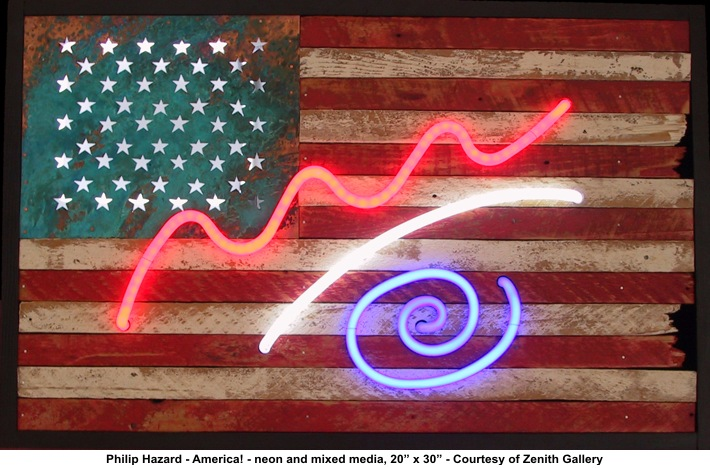 "Philip Hazard ""America!"" neon/mixed media/Courtesy Zenith Gallery"