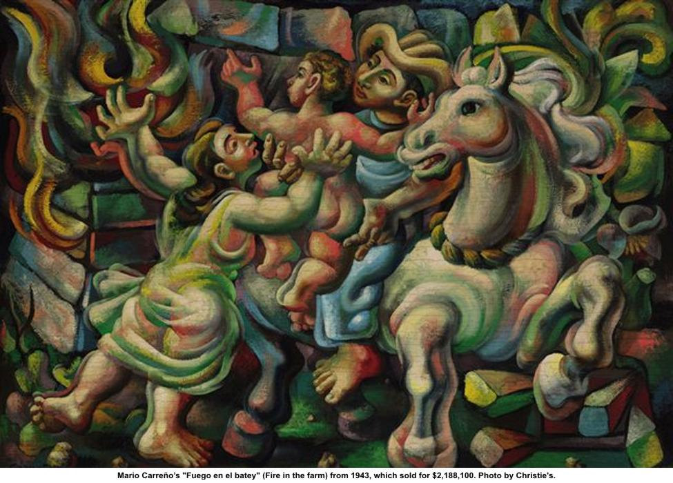 """Mario Carreno, """"Fire in the Farm,"""" 1943. Photo: CHRISTIE'S"""