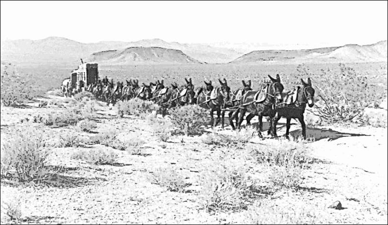 Twenty mule team cargo racing through the desert. Courtesy wpclipart.com