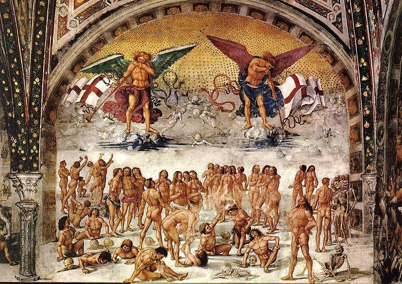"Luca Signorelli - ""Resurrection of the Flesh"" (1499-1502). Chapel of San Brizio, Duomo, Orvieto/Wikimedia Commons"