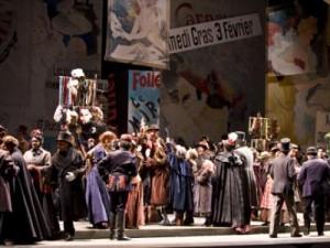 Glorious street action in Act II. Photo: Portland Opera