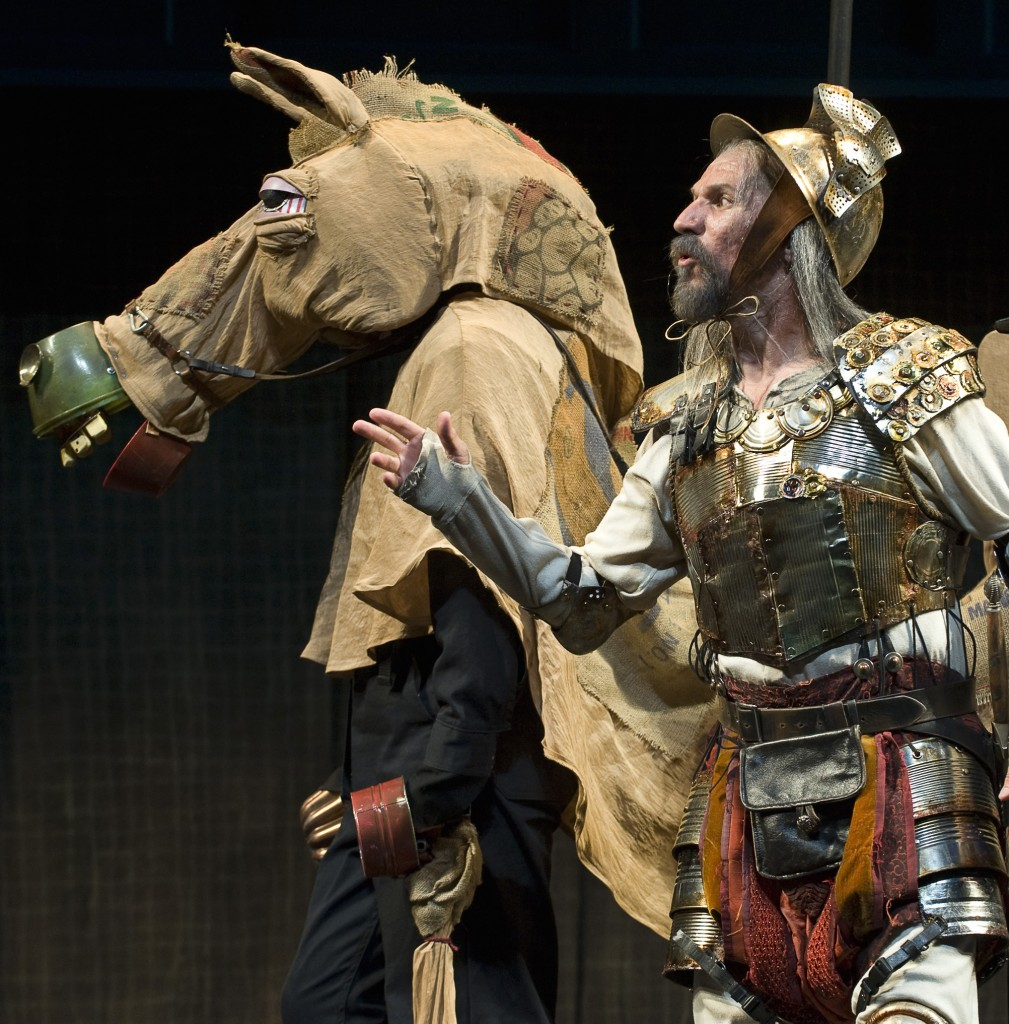 Armando Duran as Don Quixote, with his steed Rocinante. Photo: David Cooper/Oregon Shakespeare Festival/2009