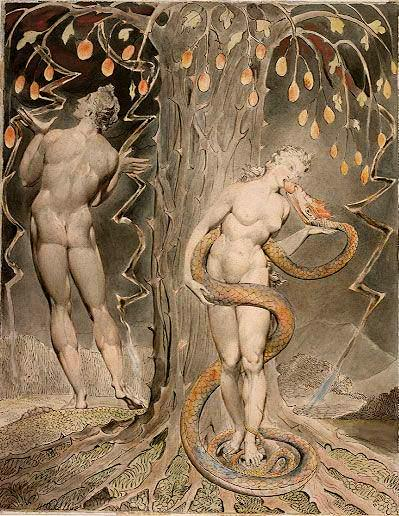 William Blake, The Temptation and Fall of Eve, illustration to Milton's Paradise Lost, 1808. Wikimedia Commons