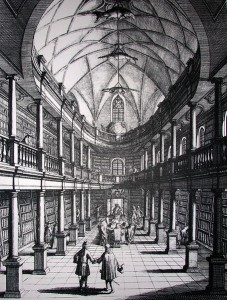 Zürich, Wasserkirche: Former 'Bürgerbibliothek' (public library), as of 1719, by Johann Melchior Füssli/Wikimedia Commons