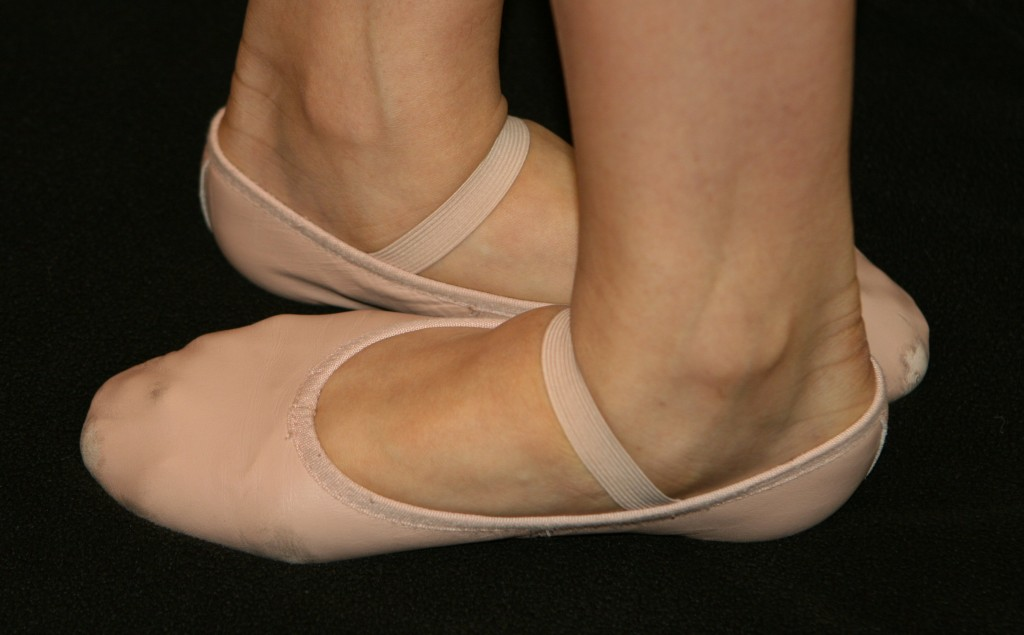 Ballet shoes, in fifth position