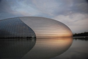 "Beijing's ultramodern ""Egg,"" the National Centre for the Performing Arts. Vera & Jean-Christophe/Wikimedia Commons"