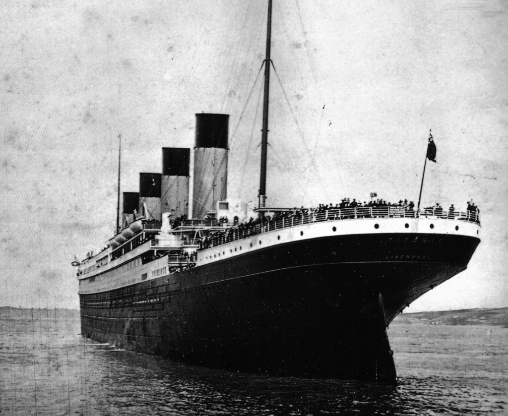 The Titanic, proud prowler of the ocean, steaming into history