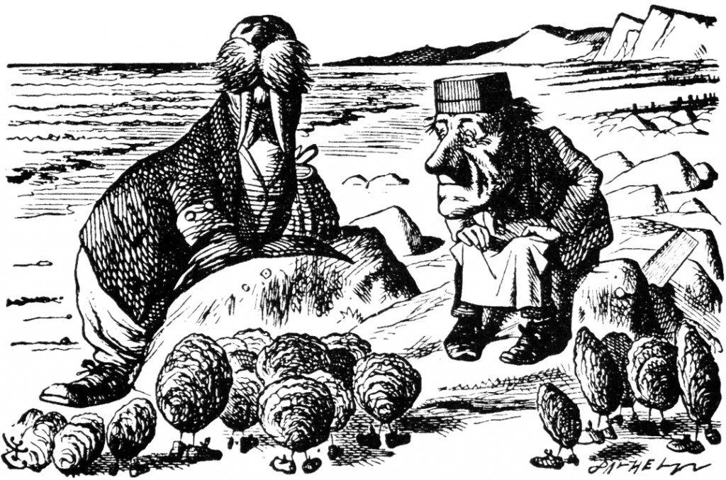 "Sir James Tenniel, 1871 illustration from Lewis Carroll's ""The Walrus and the Carpenter."" Wikimedia Commons"