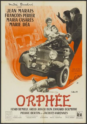 "French poster for Jean Cocteau's film ""Orphee,"" the inspiration for Philip Glass's opera. Wikimedia Commons"