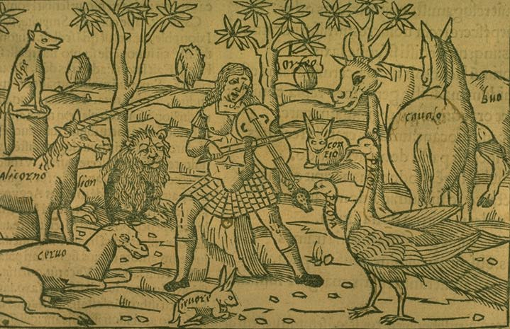 """Orpheus in the Wilderness,"" anonymous woodblock"