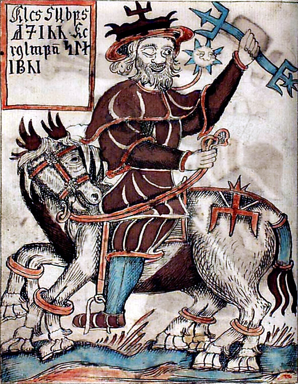 Odin, slayer of the Frost Giant, riding Sleipnir. 18th C. Icelandic, Danish Royal Library/Wikimedia Commons