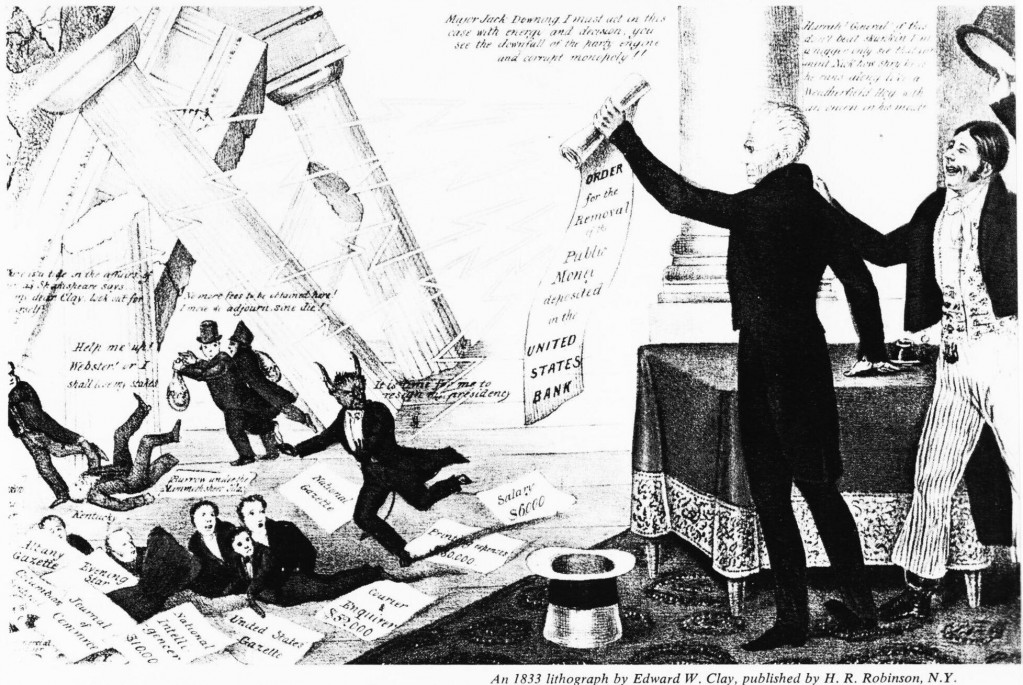 "English: Lithograph by Edward W. Clay. Praises Andrew Jackson for his destroying the Second Bank of the United States with his ""Removal Notice"" (removal of federal deposits). Nicolas Biddle portrayed as The Devil, along with several speculators and hirelings, flee as the bank collapses while Jackson's supporters cheer."