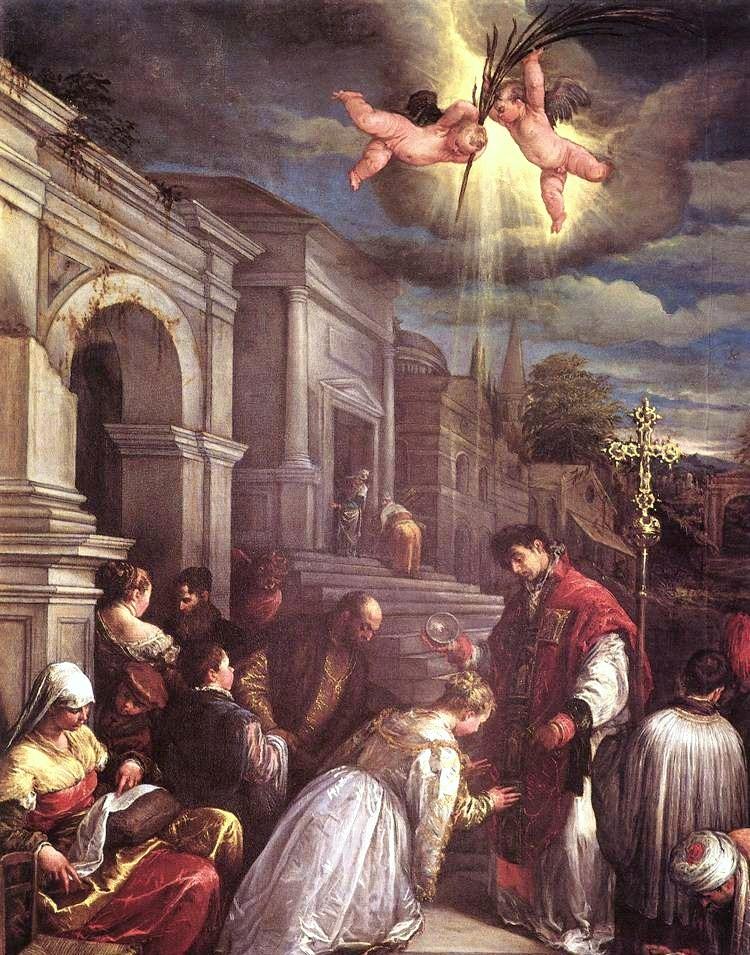"Jacopo Bassano, ""Saint Valentine Baptizing Saint Lucilla,"" 1500s. Wikimedia Commons."