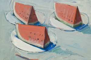 "Wayne Thiebaud, ""Watermelon Slices,"" 1961. Oil on canvas. Private collection. Copyright Wayne Thiebaud/License by VAGA, New York, N.Y."