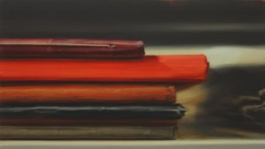 """Xiaoze Xie, Library of Congress (Music Division M1060)  , 2009 oil on canvas 24"""" x 42"""" , Elizabeth Leach Gallery, Portland"""
