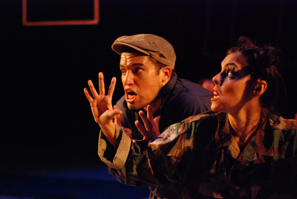 "CarlosAlexis Cruz and Mayra Acevedo as Pedro and his militant wife on an attempt to confront a human in ""A Suicide Note from a Cockroach."" Photo: Drew Foster"