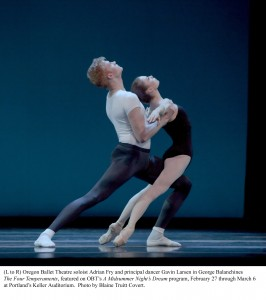 Adrian Fry and Gavin Larsen in The Four Temperaments at OBT. Photo: Blaine Truitt Covert