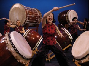 Portland Taiko in concert. Photo: Copyright Rich Iwasaki, 2003