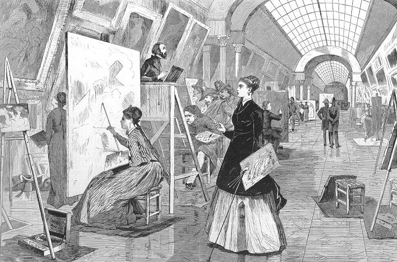 Art Students and Copyists in the Louvre Gallery (for Harper's Weekly), 1868, wood engraving, National Gallery of Art, Washington, D.C.
