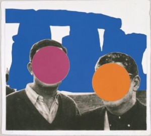 "John Baldessari, ""Stonehenge (with Two Persons) Blue,"" 2005. Mixographia print on handmade paper. Jordan Schnitzer Collection"