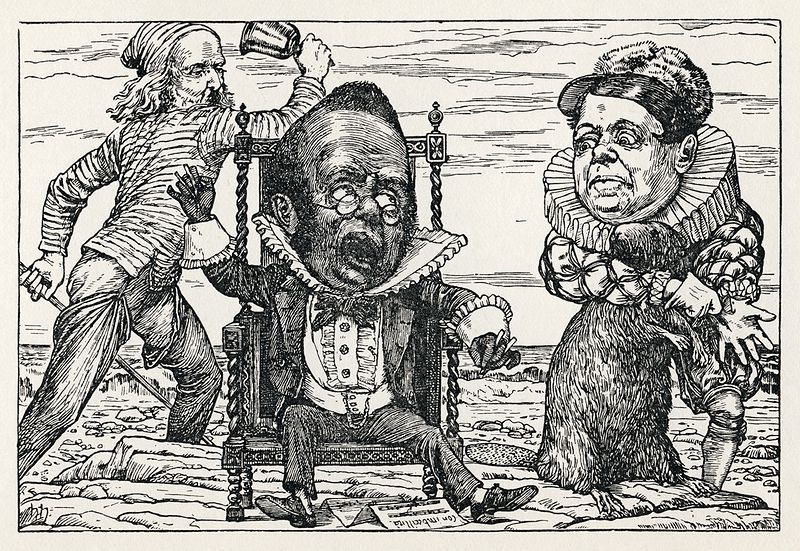 "Henry Holiday, Plate 9 from ""The Hunting of the Snark""; ""Fit the Seventh: The Banker's Fate."" Wikimedia Commons"