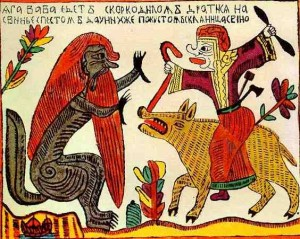 Baba Yaga riding a pig and fighting the infernal Crocodile. Russian lubok. Early 1700s/Wikimedia Commons
