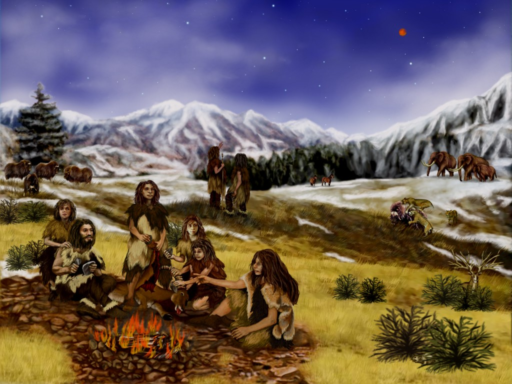 Artist's rendering of a Neanderthal clan, about 60,000 years ago. National Aeronautics and Space Administration