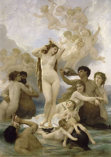 Birth of Venus.  1879.  William Adolphe Bouguereau (1825-1905).  Oil on canvas, 9 ft. 10 1/8 inches x 7 ft. 5/8 inches. RMN (Musée d'Orsay)/Hervé Lewandowski