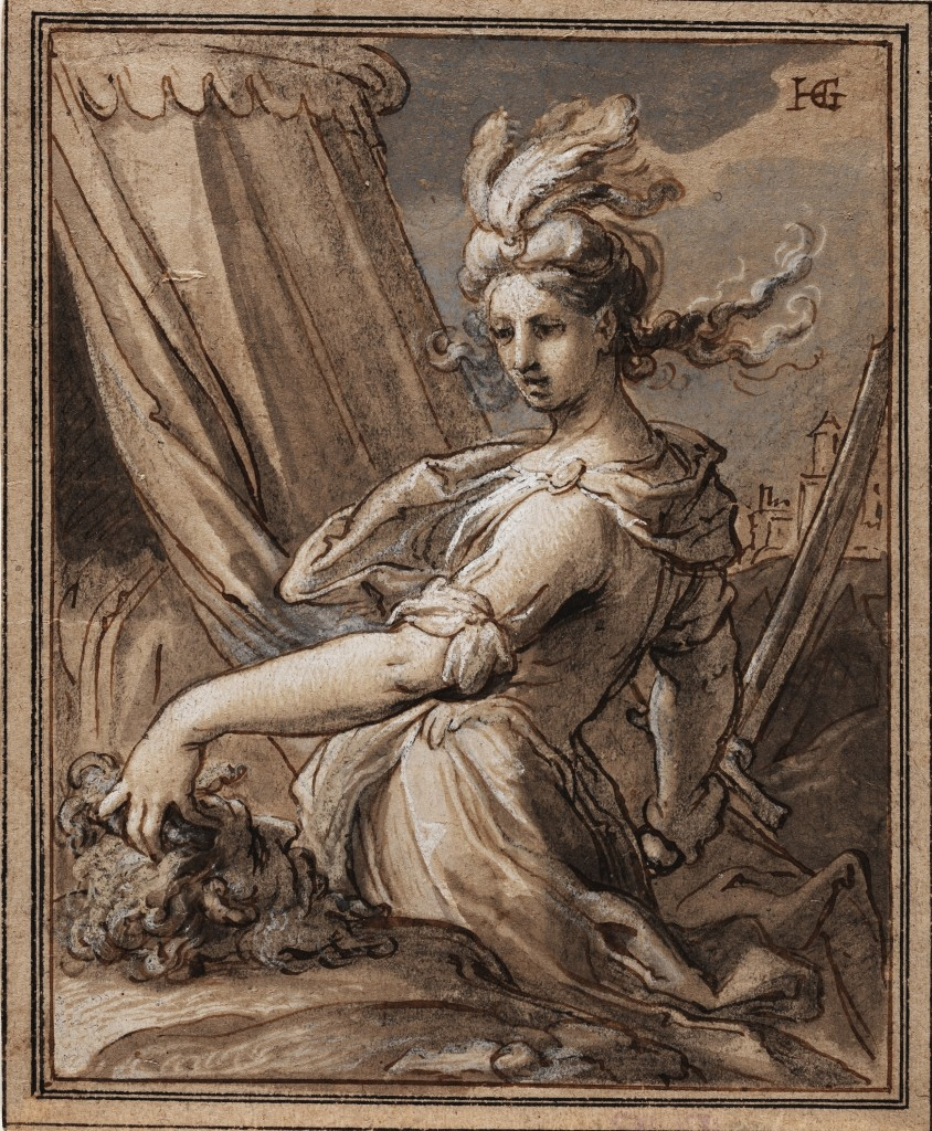 Hendrick Goltzius, Judith with the Head of Holofernes, n.d.  Pen and dark brown ink, brush and grey wash and blue and white opaque watercolor, partially darkened, on brown laid paper, 20.3 x 16.6 cm. Crocker Art Museum, E. B. Crocker Collection 1871.142