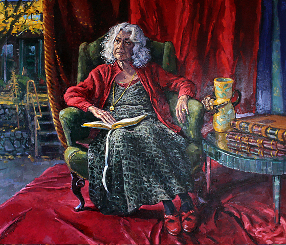 "Henk Pander, portrait of Delores Rooney, December 2009. 54"" x 64"", oil on linen. Courtesy of the artist."