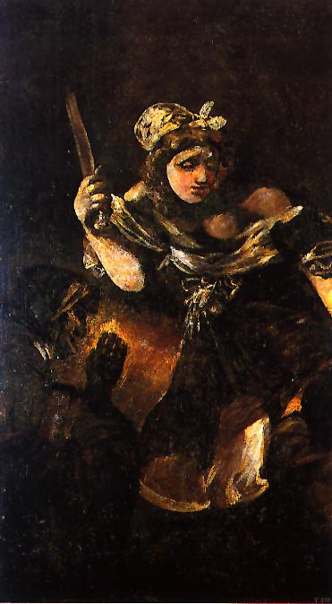 """Francisco Goya, """"Judith and Holofernes"""" (1819-23) 143.5 x 81.4 cm. Museo del Prado, Madrid."""