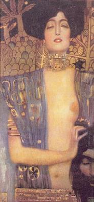 """""""Judith I,"""" by Gustav Klimt (1862-1918), painted in 1901. Oil on Canvas (84 x 32 cm) Österreichische Galerie, Vienna."""