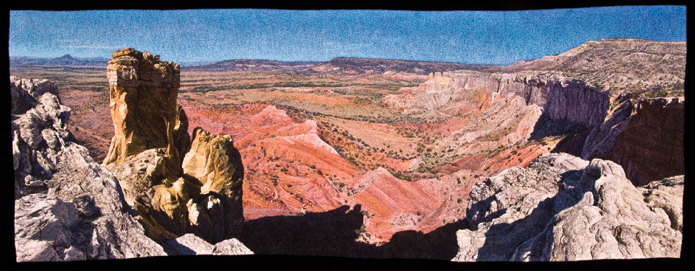 "Carol Shinn, ""Chimney Rock,"" 2010; freestyle machine embroidery, 16.5 x 43.5 inches. Jane Sauer Gallery, Santa Fe. Photo: Randy Shinn."