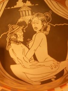 "Diego Rivera, ""Paris and Helen,"" detail, terra cotta bowl. Clark+Del Vecchio/Santa Fe."