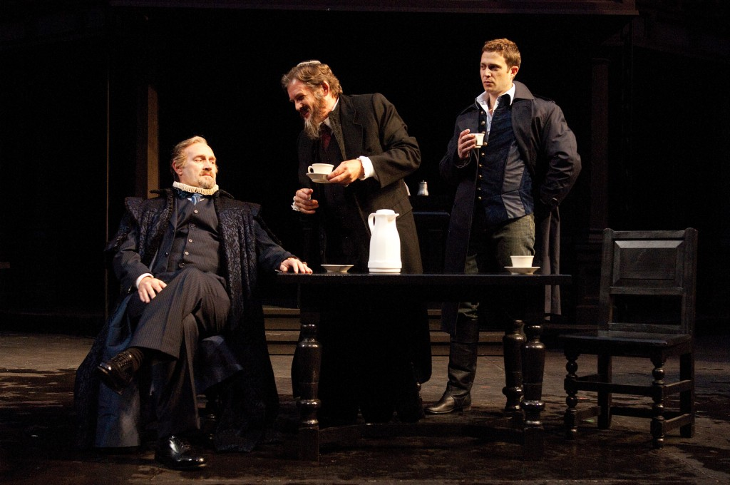 Antonio (Jonathan Haugen, left), Shylock (Anthony Heald, center) and Bassanio (Danforth Comins) discuss the terms of Antonio's bond. Photo by Jenny Graham.