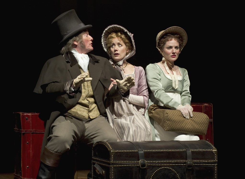 Elizabeth (Kate Hurster, right) is troubled when Mr. and Mrs. Gardiner (Michael J. Hume, Robin Goodrin Nordli) suggest a visit to Mr. Darcy's estate. Photo by David Cooper.