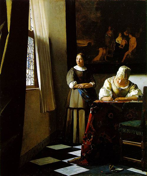 """Lady Writing a Letter with her Maid"" by Johannes Vermeer (c. 1670-1671), National Gallery of Ireland, Dublin"