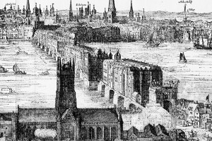 Detail from 1616 etching by Claes Van Visscher, showing Old London Bridge with Southwark Cathedral in the foreground. Wikimedia Commons.