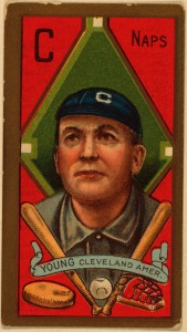 Cy Young baseball card from 1911, the last of his 22 years pitching in the big leagues. He won 511 games, by far the most ever -- and lost 316, more than a lot of Hall of Fame pitchers won. Wikimedia Commons.