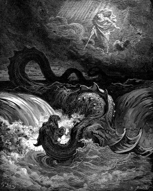 "Mr. Scatter preparing to edit an unruly submission. OK, OK. Actually, it's ""Destruction of Leviathan,"" an 1865 engraving by Gustave Doré. Wikimedia Commons"