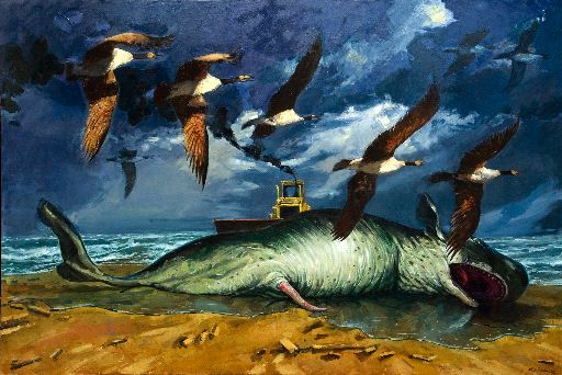 "Henk Pander, ""Leviathan,"" oil on linen, 69"" x 101"", 2009. Laura Russo Gallery."