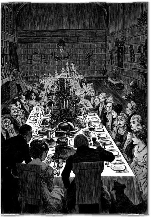"Randolph Caldecott, illustration of ""The Christmas Dinner"" from ""The Sketch Book"" by Washington Irving; 1876."