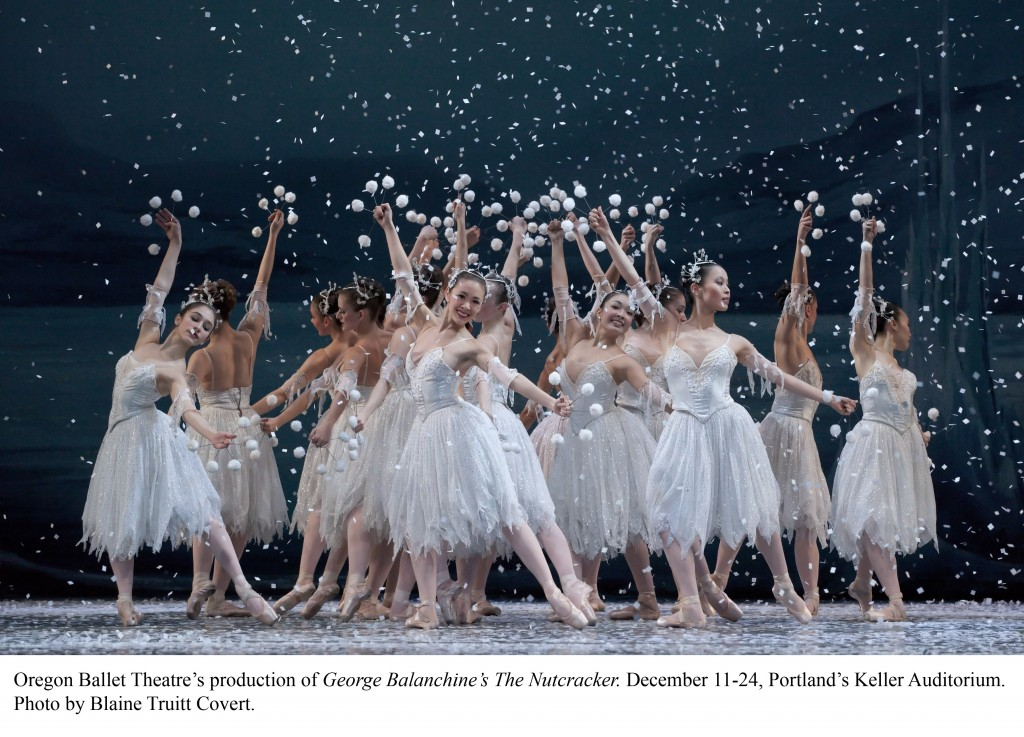 "The Snowflakes in the grand finale to Act One of Oregon Ballet Theatre's production of George Balanchine's ""The Nutcracker."" Photo: Blaine Truitt Covert."