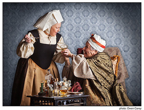 "David Margulies as the hypochondriac Argan and Sharonlee McLean as the sassy and practical servant Toinette in ""The Imaginary Invalid."" Photo: Owen Carey/Portland Center Stage."