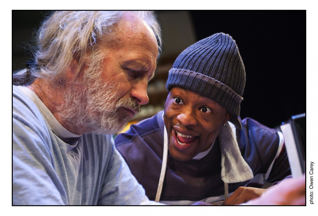 "Bill Geisslinger and Vin Shambry in ""Superior Donuts"" at Artists Rep. Photo: Owen Carey."