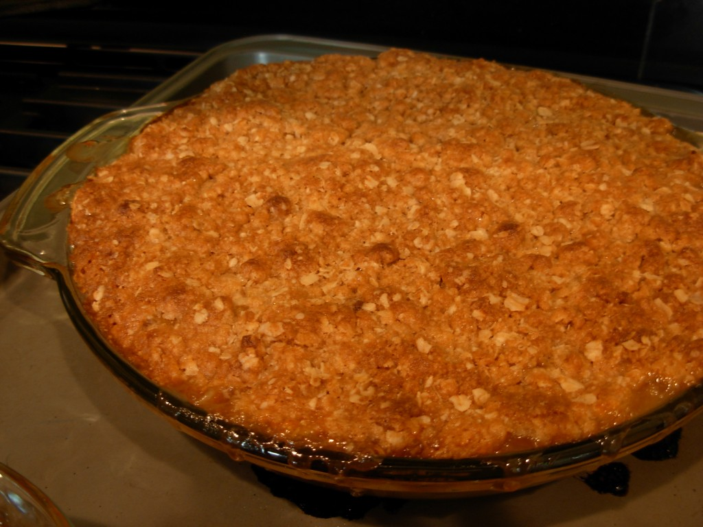 Apple crisp, hot from the oven.