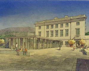 The Plaza by GBD Architects. Watercolor rendering by C.S. Holmes.