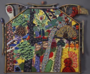 "Roy DeForest, ""Forest Hermit,"" 1990, Acrylic on canvas with artist-carved frame, Collection of Arlene and Harold Schnitzer."