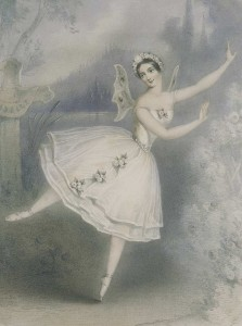 "Lithograph by unknown of the ballerina Carlotta Grisi in en:Giselle. Paris, 1841. Image was scanned from the book ""The Romantic Ballet in Paris"" by Ivor Guest. Wikimedia Commons."