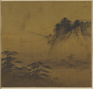 "Attributed to Xia Gui, ""Viewing Pavilion Overlooking Misty Valley,"" Southern Song dynasty, late 12th-early 13th century, album leaf, ink and light color on silk, Collection of Andre Stevens."